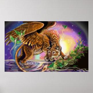 Póster Gato de vuelo del cazador de la oscuridad