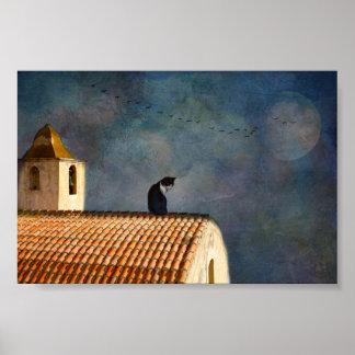 Póster gato en el tejado