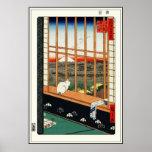 Póster Gato en ventana por el 歌川広重 de Hiroshige