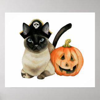Póster Gato siamés de Halloween con la linterna de Jack O