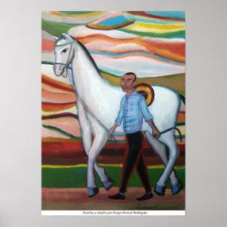 Póster Gaucho y caballo