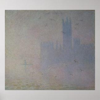 Póster Gaviotas de Claude Monet el   sobre casas del