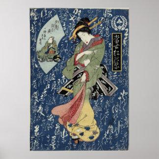 Póster Geisha de Eisen en kimono verde