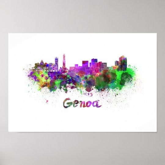 Póster Genoa skyline in watercolor