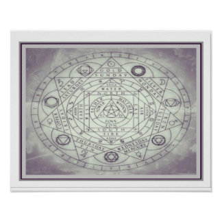 Póster Geometría/carta sagradas 16 x20 de la alquimia