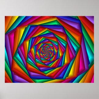 Poster geométrico del espiral del arco iris