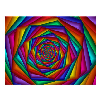 Poster geométrico del espiral del arco iris póster