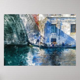 Póster Góndola en el Gran Canal de Venecia Italia
