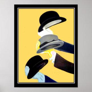 Póster Gorras franceses del poster 3 del vintage del art