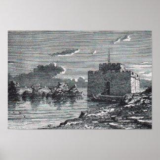 Póster Grabado del siglo XIX del fuerte medieval de
