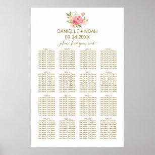 Póster Gráfico de asientos Boda de flores de peones rosa