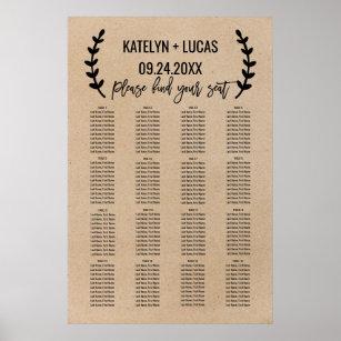 Póster Gráfico de asientos del Boda Rústico Moda Faux K