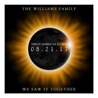 Póster Gran eclipse americano de la familia personalizado