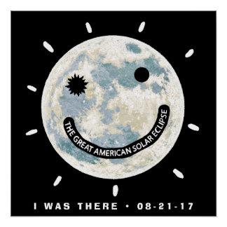 Póster Gran luna americana Emoji del eclipse solar