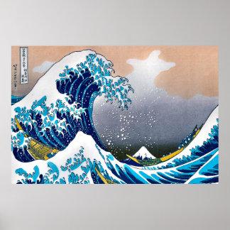 Póster Gran onda de la tapicería HD vectorizado de la