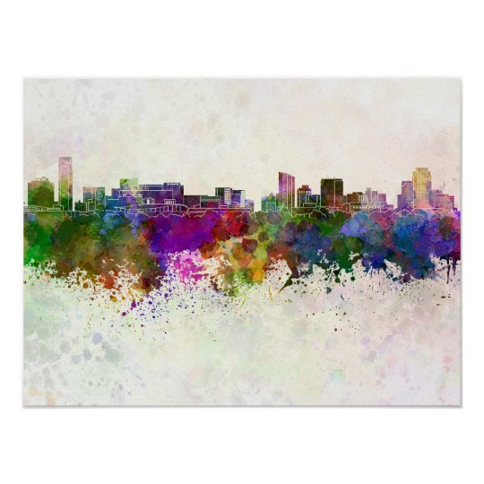 Póster Grand Rapids skyline in watercolor background
