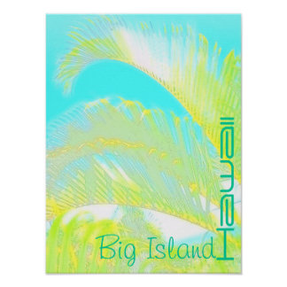 Poster grande de la palma de Hawaii de la isla