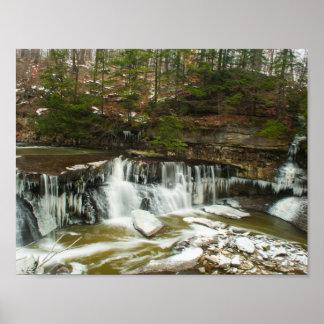 Póster Great Falls de la cala en invierno, Ohio del
