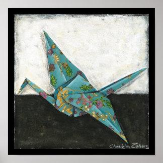 Póster Grúa de Origami con diseños florales