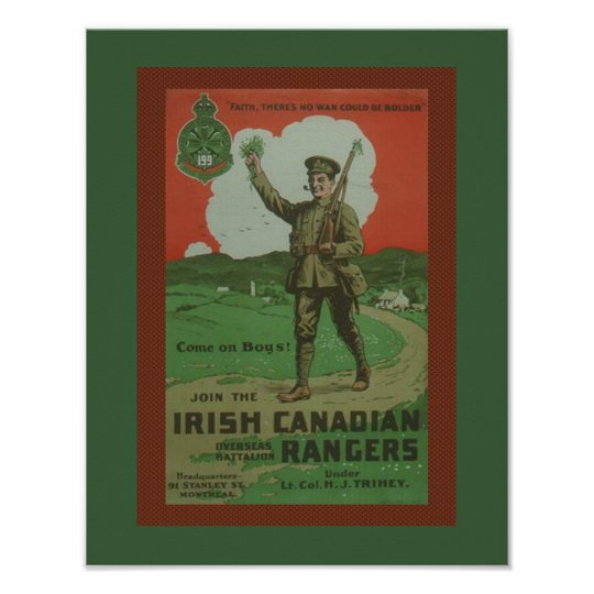 Póster Guardabosques canadienses irlandeses de la guerra