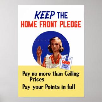 Póster Guarde el compromiso de la frente interno -- WWII