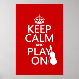 Póster Guarde la calma y el juego en (violín) (cualquier