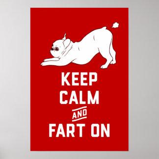 Póster Guarde la calma y Fart encendido con el dogo