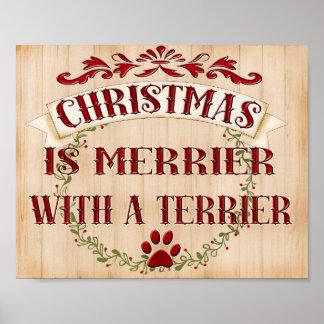Póster Guirnalda del navidad de Terrier. razas del perro