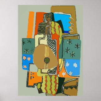 Póster Guitarra abstracta
