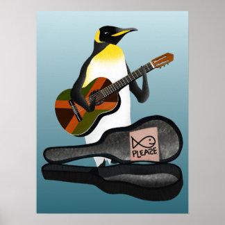 Póster Guitarra del reggae del pingüino
