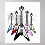 Póster Guitarras del multicolor de la roca