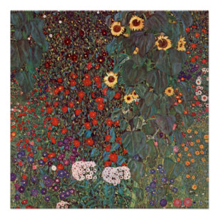 Póster Gustav Klimt - Jardín de campo