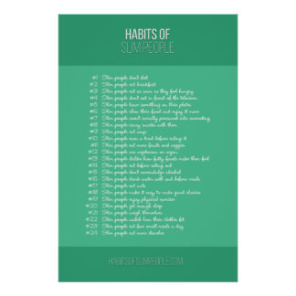 Póster Hábitos de la gente delgada (ciánica)