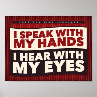 Póster Hablo con mis manos. un poster de la sala de clase