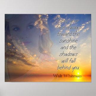 Póster Haga frente a la sol -- Cita de Walt Whitman -