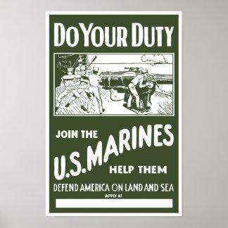 Póster Haga su deber -- Únase a a los infantes de marina