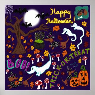 Póster Halloween del Dachshund de la diva