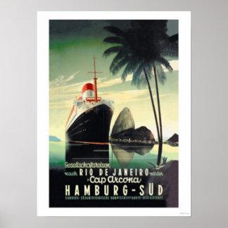 Póster Hamburgo a Río de Janeiro en el casquillo Arcona