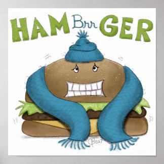 Póster Hamburguesa fría divertida