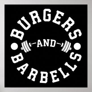 Póster Hamburguesas y Barbells - entrenamiento divertido