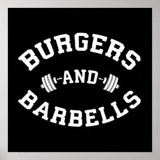 Póster Hamburguesas y Barbells - motivación de elevación