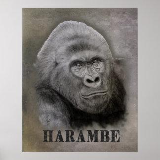 Póster Harambe (dibujo del grafito)