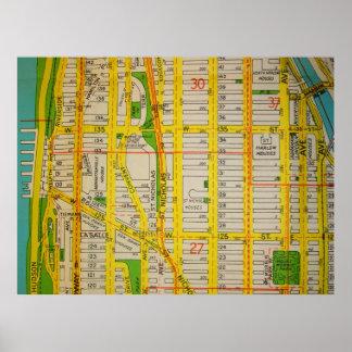 Póster Harlem, poster del mapa del vintage de Manhattan