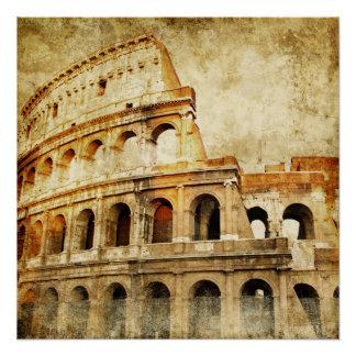 Poster hermoso del vintage, arena romana antigua