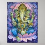 Poster hindú del arte de Lotus Ganesha