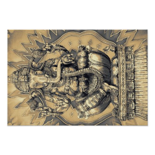 Póster hindu god Ganesh gold