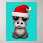 Póster Hipopótamo del bebé que lleva un gorra de Santa