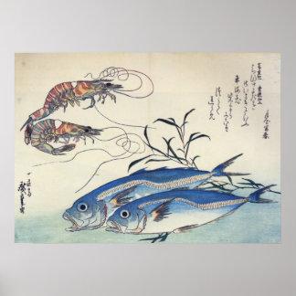 Póster Hiroshige - caballo Mackeral y gambas