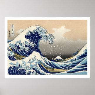 Póster Hiroshige - la gran onda de Kanagawa