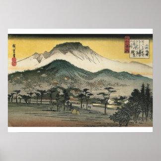 Póster Hiroshige - opinión de la tarde de un templo en